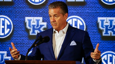 <p>               Kentucky coach John Calipari speaks during the SEC men's NCAA college basketball media day, Wednesday, Oct. 17, 2018, in Birmingham, Ala. (AP Photo/Butch Dill)             </p>