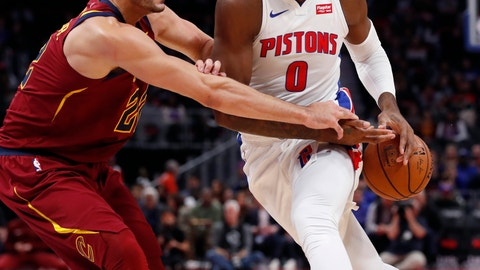 <p>               Cleveland Cavaliers forward Larry Nance Jr. (22) knocks the ball away from Detroit Pistons center Andre Drummond (0) during the first half of an NBA basketball game, Thursday, Oct. 25, 2018, in Detroit. (AP Photo/Carlos Osorio)             </p>