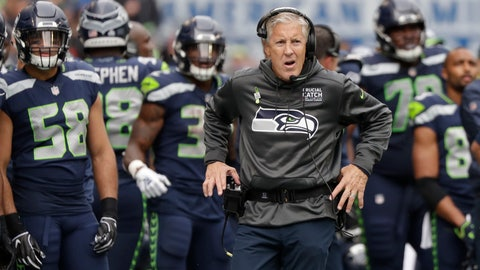 <p>               Seattle Seahawks head coach Pete Carroll walks the sideline during the second half of an NFL football game against the Los Angeles Rams, Sunday, Oct. 7, 2018, in Seattle. (AP Photo/Elaine Thompson)             </p>