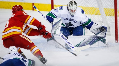 <p>               Vancouver Canucks goalie Jacob Markstrom, right, of Sweden, blocks the net on Calgary Flames' Mikael Backlund, of Sweden, during the second period of an NHL hockey game in Calgary, Alberta, Saturday, Oct. 6, 2018. (Jeff McIntosh/The Canadian Press via AP)             </p>
