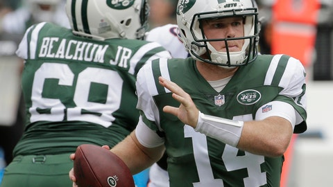 <p>               New York Jets quarterback Sam Darnold (14) looks to pass during the first half of an NFL football game against the Denver Broncos Sunday, Oct. 7, 2018, in East Rutherford, N.J. The Jets won 34-16. (AP Photo/Seth Wenig)             </p>