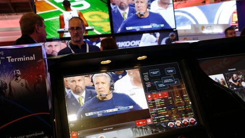 <p>               The CrystalBetting sports betting terminal is on display at the IGT booth during the Global Gaming Expo, Wednesday, Oct. 10, 2018, in Las Vegas. (AP Photo/John Locher)             </p>