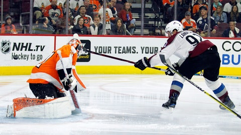 <p>               Colorado Avalanche' Gabriel Landeskog, right, scores a goal past Philadelphia Flyers goalie Brian Elliott during the third period of an NHL hockey game, Monday, Oct. 22, 2018, in Philadelphia. (AP Photo/Tom Mihalek)             </p>