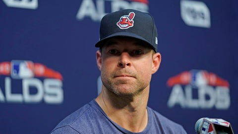 <p>               Cleveland Indians starting pitcher Corey Kluber listens to a question during a baseball news conference Thursday, Oct. 4, 2018, in Houston. The Indians play the Houston Astros in Game 1 of the American League Division Series on Friday. (AP Photo/David J. Phillip)             </p>