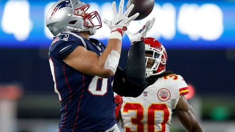 <p>               FILE - In this Sunday, Oct. 14, 2018, file photo, New England Patriots tight end Rob Gronkowski, left, catches a pass in front of Kansas City Chiefs safety Josh Shaw (30) during the second half of an NFL football game in Foxborough, Mass. Gronkowski was the runaway choice this week as the NFL's top tight end by a panel of 10 football writers for The Associated Press. (AP Photo/Michael Dwyer, File)             </p>