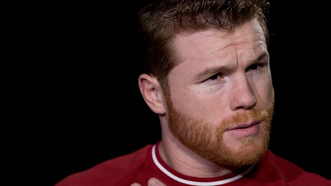 <p>               Canelo Alvarez is interviewed, Tuesday, Oct. 16, 2018 in New York. Alvarez is scheduled to fight WBA super middleweight boxing champion Rocky Fielding in New York in December. (AP Photo/Mark Lennihan)             </p>