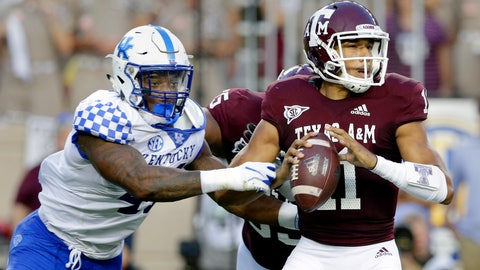 <p>               Kentucky linebacker Josh Allen (41) catches Texas A&M quarterback Kellen Mond (11) for a sack during the first half of an NCAA college football game Saturday, Oct. 6, 2018, in College Station, Texas. (AP Photo/Michael Wyke)             </p>