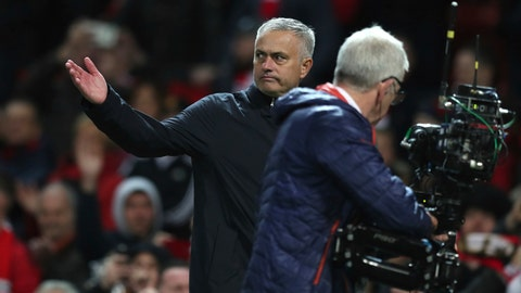 <p>               Manchester United's manager Jose Mourinho walks from the pitch after the end of the English Premier League soccer match between Manchester United and Newcastle United at Old Trafford in Manchester, England, Saturday, Oct. 6, 2018.Man Utd won the game 3-2. (AP Photo/Jon Super)             </p>