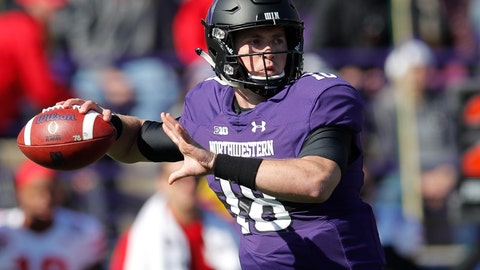 <p>               FILE - In this Saturday, Oct. 13, 2018, file photo, Northwestern's Clayton Thorson throws a pass during an NCAA college football game in Evanston, Ill. Northwestern (4-3) somehow, some way is 4-1 in Big Ten play for the first time since 2000 and a half-game ahead of Wisconsin, Purdue and Iowa in the West. (AP Photo/Jim Youn, File)             </p>