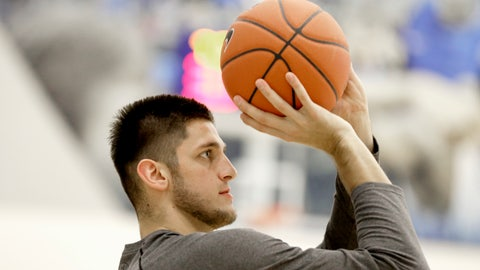 <p>               In this Oct. 11, 2018 photo, Creighton NCAA college basketball forward Martin Krampelj shoots baskets in Omaha, Neb. Krampelj is coming back this season after recovering from a third torn anterior cruciate ligament. He tore the ACL in his left knee for the second time when he stepped on a teammate's foot in a game last January. He also has torn the ACL in his right knee. Krampelj said he never had a doubt he would return from his latest injury. (AP Photo/Nati Harnik)             </p>