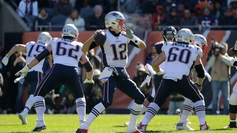 <p>               New England Patriots quarterback Tom Brady (12) throws during the first half of an NFL football game against the Chicago Bears Sunday, Oct. 21, 2018, in Chicago. (AP Photo/Nam Y. Huh)             </p>