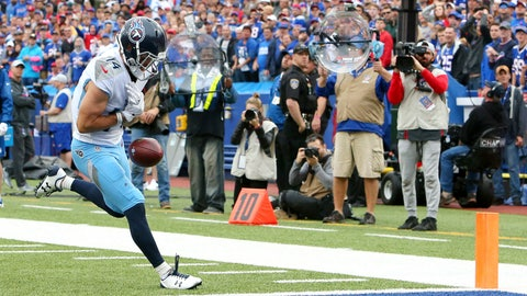 <p>               Tennessee Titans wide receiver Nick Williams drops a pass from quarterback Marcus Mariota near the end zone during the second half of an NFL football game against the Buffalo Bills, Sunday, Oct. 7, 2018, in Orchard Park, N.Y. (AP Photo/Jeffrey T. Barnes)             </p>