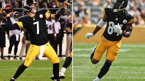 <p>               FILE - At left, in a Sept. 30, 2018, file photo, Pittsburgh Steelers quarterback Ben Roethlisberger (7) throws a pass during the second half of an NFL football game against the Baltimore Ravens in Pittsburgh. At right, in a Sept. 16, 2018, file photo, Pittsburgh Steelers wide receiver Antonio Brown (84) is shown during an NFL football game against the Kansas City Chiefs, in Pittsburgh. Expected to be playoff contenders, Atlanta (1-3) and Pittsburgh (1-2-1) are reeling a month into the season thanks to injuries and poor defensive play, leaving the door open for a shootout between Steelers quarterback Ben Roethlisberger and counterpart Matt Ryan.  (AP Photo/File)             </p>