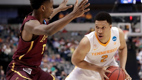 <p>               FILE - In this March 17, 2018, file photo, Loyola-Chicago guard Donte Ingram (0) defends against Tennessee forward Grant Williams (2) during the first half of a second-round game at the NCAA men's college basketball tournament in Dallas. Tennessee opens this season ranked sixth in the Top 25 after winning a share of the Southeastern Conference title last season. That represents the Volunteers' highest preseason ranking ever. (AP Photo/Tony Gutierrez, File)             </p>