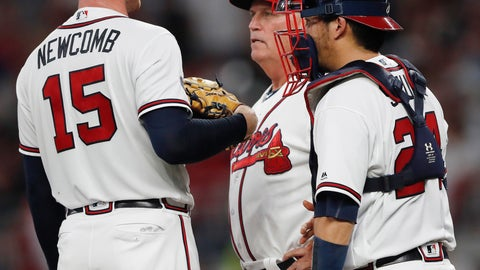 <p>               Atlanta Braves manager Brian Snitker (43) relives pitcher Sean Newcomb (15) during the third inning in Game 3 of MLB baseball's National League Division Series against the Los Angeles Dodgers, Sunday, Oct. 7, 2018, in Atlanta. (AP Photo/John Bazemore)             </p>