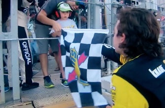 Ryan Blaney talks about why he gives his checkered flags away to young race fans