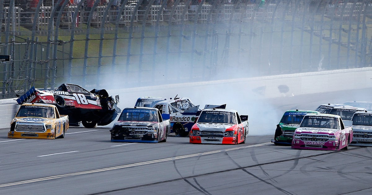 Timothy Peters wins as the field wrecks at Talladega