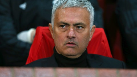 <p>               ManU coach Jose Mourinho sits on the bench during the Champions League group H soccer match between Manchester United and Juventus at Old Trafford, Manchester, England, Tuesday, Oct. 23, 2018. (AP Photo/Dave Thompson)             </p>