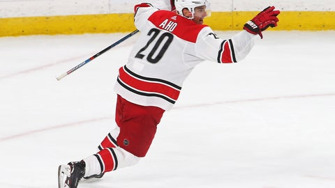 <p>               Carolina Hurricanes' Sebastian Aho, of Finland, celebrates his game-winning goal against Minnesota Wild goalie Devan Dubnyk in overtime of an NHL hockey game Saturday, Oct. 13, 2018, in St. Paul, Minn. The Hurricanes won 5-4.  (AP Photo/Jim Mone)             </p>