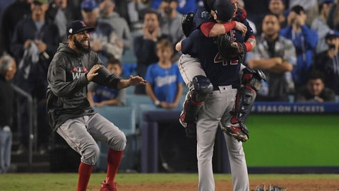 <p>               From left, Boston Red Sox's David Price, catcher Christian Vazquez and Chris Sale celebrate after Game 5 of baseball's World Series against the Los Angeles Dodgers on Sunday, Oct. 28, 2018, in Los Angeles. The Red Sox won 5-1 to win the series 4 game to 1. (AP Photo/Mark J. Terrill)             </p>