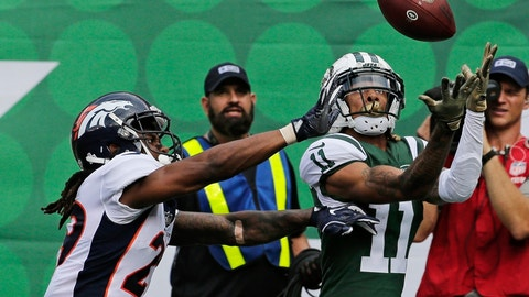 <p>               New York Jets' Robby Anderson (11) catches a pass in front of Denver Broncos' Bradley Roby (29) for a touchdown during the first half of an NFL football game Sunday, Oct. 7, 2018, in East Rutherford, N.J. (AP Photo/Seth Wenig)             </p>
