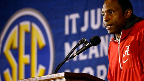 <p>               Alabama coach Avery Johnson speaks during the SEC men's NCAA college basketball media day, Wednesday, Oct. 17, 2018, in Birmingham, Ala. (AP Photo/Butch Dill)             </p>