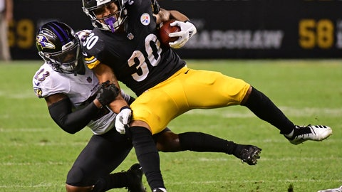 <p>               Pittsburgh Steelers running back James Conner (30) is tackled by Baltimore Ravens defensive back Tony Jefferson (23) during the first half of an NFL football game in Pittsburgh, Sunday, Sept. 30, 2018. (AP Photo/Fred Vuich)             </p>