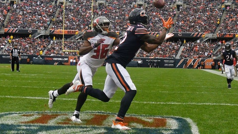 <p>               FILE - In this Sept. 30, 2018, file photo, Chicago Bears wide receiver Allen Robinson (12) makes a touchdown reception against Tampa Bay Buccaneers cornerback M.J. Stewart (36) during the first half of an NFL football game in Chicago. A porous defense is threatening to undermine a Buccaneers season that looked so promising after Ryan Fitzpatrick led the team to wins over New Orleans and Super Bowl champion Philadelphia to start the season. Last Sunday's 48-10 loss to the Bears sent the Bucs into their bye week amid questions about whether coach Dirk Koetter might fire defensive coordinator Mike Smith during a break that couldn't arrive soon enough. (AP Photo/David Banks, File)             </p>