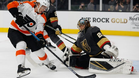 <p>               Philadelphia Flyers left wing Oskar Lindblom (23) scores against Vegas Golden Knights goaltender Marc-Andre Fleury during the first period of an NHL hockey game Thursday, Oct. 4, 2018, in Las Vegas. (AP Photo/John Locher)             </p>