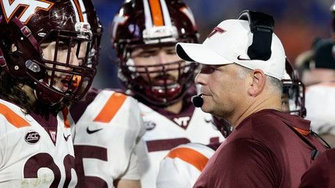 <p>               FILE - In this Sept. 29, 2018, file photo, Virginia Tech coach Justin Fuente speaks with his players during the first half of an NCAA college football game against Duke in Durham, N.C. Fuente's Hokies can improve to 3-0 on the road in the Atlantic Coast Conference when they visit North Carolina on Saturday. (AP Photo/Gerry Broome, File)             </p>