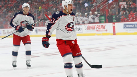 <p>               Columbus Blue Jackets' Cam Atkinson (13) celebrates his goal against the Detroit Red Wings during the first period of an NHL hockey game Thursday, Oct. 4, 2018, in Detroit. (AP Photo/Paul Sancya)             </p>