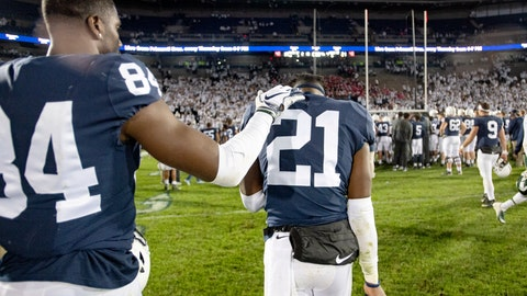 <p>               Penn State Juwan Johnson (84) pats cornerback Amani Oruwariye after a loss to Michigan State in an NCAA college football game Saturday, Oct. 13, 2018, in State College, Pa. (Abby Drey/Centre Daily Times via AP)             </p>