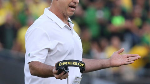 <p>               FILE - In this Saturday Sept. 22, 2018, file photo, Oregon coach Mario Cristobal gestures toward his team during the second half of an NCAA college football game against Stanford in Eugene, Ore. If the Pac-12 wants to maximize its already damaged hopes of playing for a national championship No. 7 Washington needs to beat No. 17 Oregon on Saturday.   (AP Photo/Chris Pietsch, File))             </p>