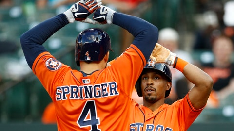 <p>               Houston Astros' Tony Kemp, right, high-fives teammate George Springer after scoring on Springer's two-run home run in the sixth inning of the first baseball game of a doubleheader against the Baltimore Orioles, Saturday, Sept. 29, 2018, in Baltimore. (AP Photo/Patrick Semansky)             </p>