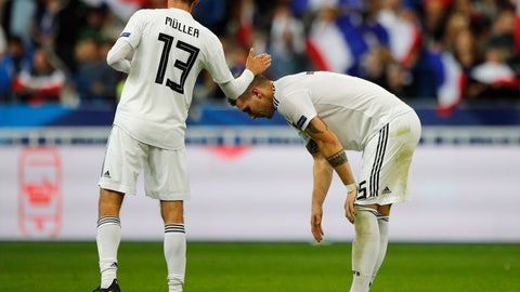 <p>               Germany's Thomas Mueller, left, and Germany's Mats Hummels react after their UEFA Nations League soccer match between France and Germany at Stade de France stadium in Saint Denis, north of Paris, Tuesday, Oct. 16, 2018. France won 2-1. (AP Photo/Francois Mori)             </p>