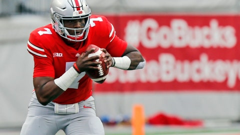 <p>               FILE - In this Sept. 22, 2018, file photo, Ohio State quarterback Dwayne Haskins plays against Tulane during an NCAA college football game in Columbus, Ohio. The Heisman Trophy candidate leads the nation with 28 passing touchdowns and ranks among the top five in 10 other passing categories. (AP Photo/Jay LaPrete, file)             </p>