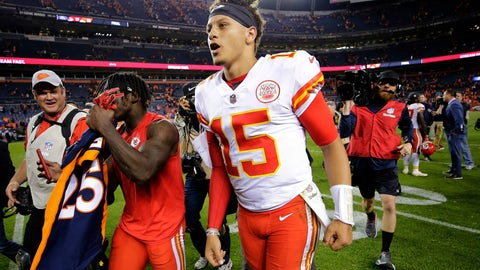 <p>               Kansas City Chiefs quarterback Patrick Mahomes (15) leaves the field after an NFL football game against the Denver Broncos, Monday, Oct. 1, 2018, in Denver. The Chiefs won 27-23. (AP Photo/Jack Dempsey)             </p>