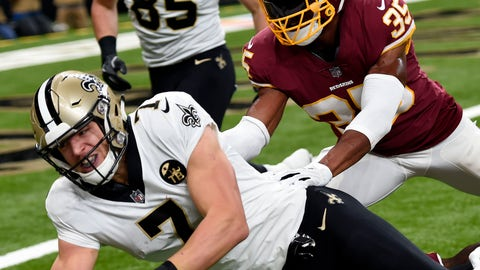 <p>               New Orleans Saints quarterback Taysom Hill (7) carries against Washington Redskins strong safety Montae Nicholson (35) in the first half of an NFL football game in New Orleans, Monday, Oct. 8, 2018. The Saints won 43-19. (AP Photo/Bill Feig)             </p>
