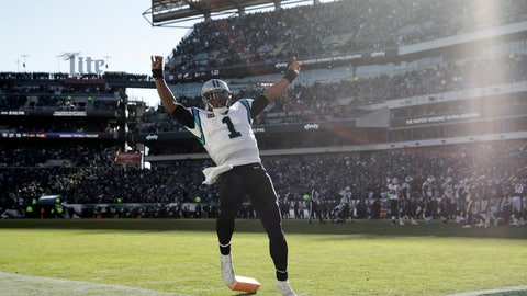 <p>               Carolina Panthers quarterback Cam Newton trips over the pylon while celebrating after throwing a touchdown pass to tight end Greg Olsen during the second half of an NFL football game against the Philadelphia Eagles, Sunday, Oct. 21, 2018, in Philadelphia. (AP Photo/Matt Rourke)             </p>