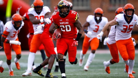 <p>               Maryland running back Javon Leake (20) rushes past a group of Illinois defenders for a touchdown in the first half of an NCAA college football game, Saturday, Oct. 27, 2018, in College Park, Md. (AP Photo/Patrick Semansky)             </p>