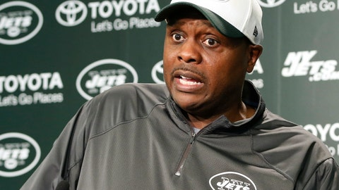 """<p>               FILE - In this May 25, 2016, file photo, New York Jets defensive coordinator Kacy Rodgers speaks to reporters, in Florham Park, N.J. Jets defensive coordinator Kacy Rodgers is dealing with what coach Todd Bowles calls a """"serious"""" illness and it's uncertain if he'll be on the sideline for the team's game against Denver. Bowles made the unprompted announcement Friday, Oct. 5, 2018,  during his news conference after the Jets' final full practice before facing the Broncos at MetLife Stadium on Sunday. (AP Photo/Kathy Willens, File)             </p>"""