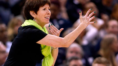 """<p>               FILE - In this Sunday, April 1, 2018 file photo, Notre Dame head coach Muffet McGraw is seen on the sidelines during the first half against Mississippi State in the final of the women's NCAA Final Four college basketball tournament in Columbus, Ohio. It's been a busy few months for Muffet McGraw and her Notre Dame Fighting Irish after they won the national championship in April on a last-second shot by Arike Ogunbowale. There were award ceremonies, a trip to the ESPYs and Ogunbowale's appearance on """"Dancing with the Stars"""". Now with the season beginning in a little over a week, the Irish are focused on the new task at hand and not concerned with defending the title. (AP Photo/Ron Schwane, File)             </p>"""