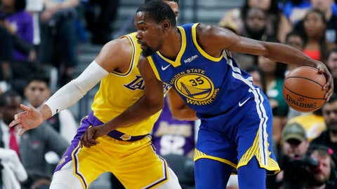 <p>               Golden State Warriors forward Kevin Durant drives against Los Angeles Lakers guard Josh Hart during the first half of an NBA preseason basketball game Wednesday, Oct. 10, 2018, in Las Vegas. (AP Photo/John Locher)             </p>