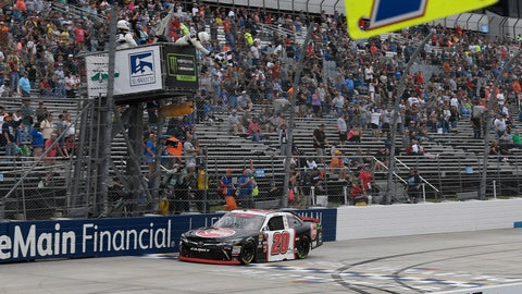 <p>               Christopher Bell takes the checkered flag to win the NASCAR Xfinity series auto race, Saturday, Oct. 6, 2018, at Dover International Speedway in Dover, Del. (AP Photo/Nick Wass)             </p>