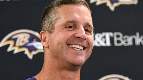 <p>               Baltimore Ravens head coach John Harbaugh talks with reporters after a 26-14 win over the Pittsburgh Steelers in an NFL football game in Pittsburgh, Monday, Oct. 1, 2018. (AP Photo/Don Wright)             </p>