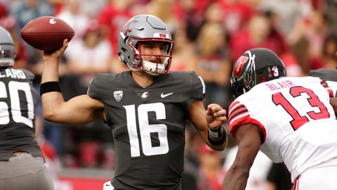 <p>               Washington State quarterback Gardner Minshew II (16) throws a pass while under pressure from Utah defensive back Marquise Blair (13) during the first half of an NCAA college football game in Pullman, Wash., Saturday, Sept. 29, 2018. (AP Photo/Young Kwak)             </p>