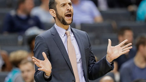 <p>               FILE - In this Oct. 2, 2018, file photo, Charlotte Hornets head coach James Borrego directs his team against the Miami Heat during the first half of a preseason NBA basketball game, in Charlotte, N.C. Borrego is the first Hispanic-American head coach in the NBA. (AP Photo/Chuck Burton, File)             </p>