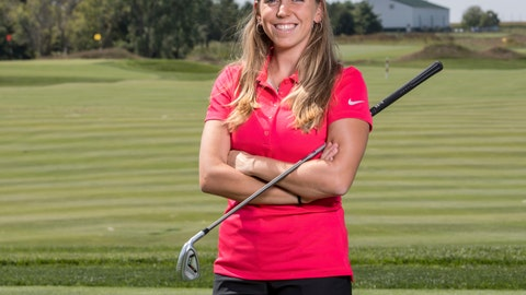 <p>               FILE - In this Sept. 7, 2017, file photo provided by Iowa State University in Ames, Iowa, golfer Celia Barquin Arozamena poses for a photo. The former ISU golfer was found dead Monday, Sept. 17, 2018, at a golf course in Ames. Collin Richards, was arrested and charged with first-degree murder in her death. Search warrant documents filed Friday, Oct. 12, 2018, indicate police have recovered three knives in the investigation into the killing. One knife was found at a campsite in Ames to which Richards has been connected. (Luke Lu/Iowa State University via AP, File)             </p>