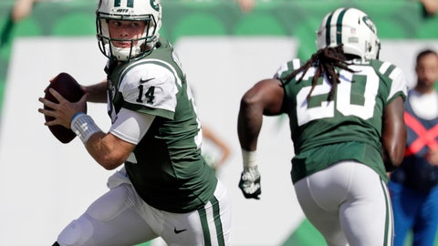 <p>               FILE - In this Sunday, Sept. 16, 2018, file photo, New York Jets' Sam Darnold (14) rolls out during the first half of an NFL football game against the Miami Dolphins in East Rutherford, N.J. The Jacksonville Jaguars host Darnold and the Jets on Sunday. Jacksonville's brash defenders are making it clear what they expect from what appears to be a mismatch. (AP Photo/Julio Cortez, File)             </p>