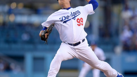 <p>               Los Angeles Dodgers starting pitcher Hyun-Jin Ryu throws to an Atlanta Braves batter during the first inning of Game 1 of a baseball National League Division Series, Thursday, Oct. 4, 2018, in Los Angeles. (AP Photo/Mark J. Terrill)             </p>